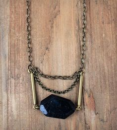 Faceted Black Agate Slab Necklace   Jewelry Necklaces   Mitsymoto Designs   Scoutmob Shoppe   Product Detail