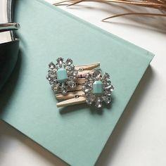 Aqua & Clear Statement Studs Unworn aqua & clear statement studs with silver hardware. Post backing. Jewelry Earrings
