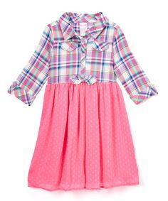 Look at this #zulilyfind! Pink & Blue Plaid Shirt Dress - Girls #zulilyfinds