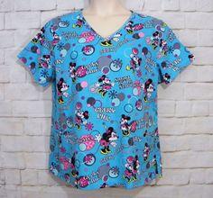 Womens DISNEY Minnie Mouse Geeky Chic V-Neck 3 Pocket Medical Scrub Top SZ Large #Disney