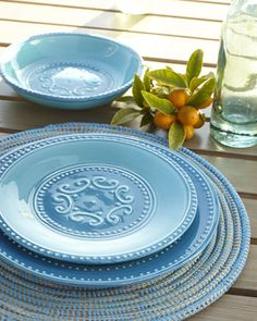 "12-Piece ""Azul"" Dinnerware Service at Horchow."