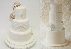 wedding dress inspired cakes by Emma Jayne Cake Design left and Zoe Clark, The Cake Parlour right