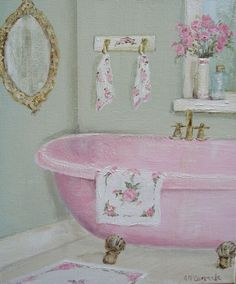 Original Whimsical Painting - The Pink Claw Footed Bath  - Postage is included Australia Wide