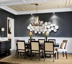 love the white plates on the charcoal wall; love the ceiling treatment