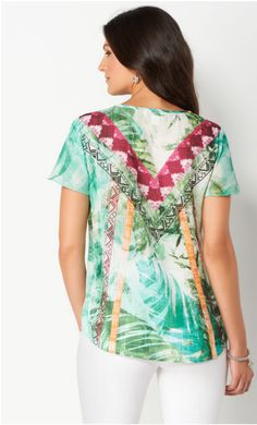 This pretty blouse is all about the details. It showcases a mix of colorful prints and shimmering rhinestones, as well as a tie-front neckline and breezy flutter sleeves.