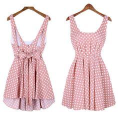 Three Color Dot Backless Bowknot Dress