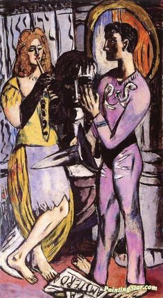 Carnival (Triptych - Left Panel) Artwork by Max Beckmann Hand-painted and Art Prints on canvas for sale,you can custom the size and frame
