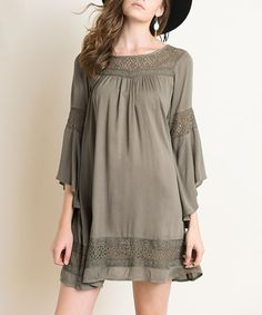 Love this Olive Crochet Lace Bell-Sleeve Shift Dress by Vizio on #zulily! #zulilyfinds