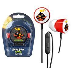 Angry Birds oortelefoon met microfoon Black Bomber