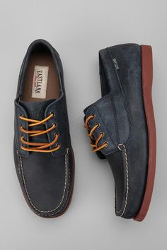 """""""Camp Moccasin""""—Navy and brick four-eyelet moccasin from Eastland exclusive for Urban Outfitters."""