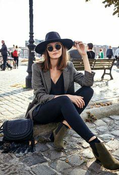black, bob hair, fashion, grey, hat, style, sun