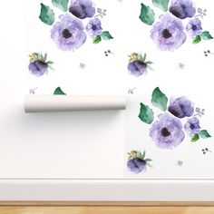 Peel & Stick Wallpaper 12ft x 2ft - Lilac White Boho Floral Flowers Baby Girl Purple Custom Removable Wallpaper by Spoonflower
