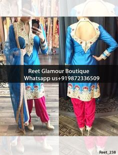 Sparkling Sky Blue And Magenta Embroidered Punjabi Suit Product Code : Reet_s238 To order, call/whats app on +919872336509 We offer huge variety of Punjabi Suits, Anarkali Suits, Lehenga Choli, Bridal Suits,Sari, Gowns,etc.We Can also Design any Suit of your Own Design and any Color Combination.