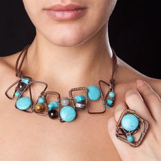 Blue Style Wire Wrapped Jewelry Set by Bijoutistique on Etsy,