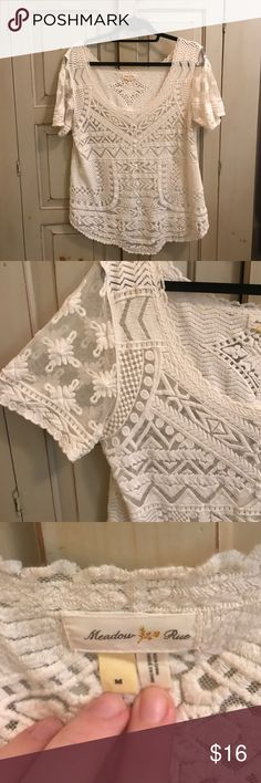 Anthropologie Lace top Top with beautiful ivory lace detail Anthropologie Tops Blouses