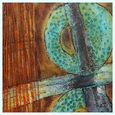 Clare Maria Wood: collagraph, blue, turquoise, golden gel, intaglio, print