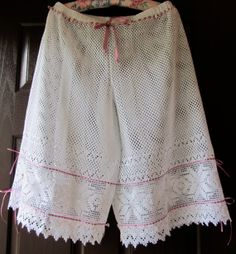 Victorian Style Lace Bloomers Ribbons Roses Size Medium / Large Shabby Chic Cottage French