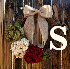 Christmas Hydrangea Wreath  Monogrammed by Frontporchdecor on Etsy, $46.00