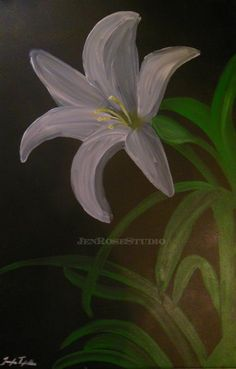 White Easter Lily, original, acrylic painting , flower painting, lily wall art, flower home decor, flower gift ideas.