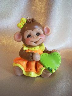 monkey birthday cake topper Christmas ornament  polymer clay personalized childrens gift animal. $19.50, via Etsy.