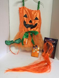 Girls Toddler Halloween Pumpkin Satin Dress Costume Size 4/5 Hair Headband #Claires #Dress