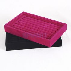 Retail Ring Earring Studs Pin Jewelry Display Tray Box Velvet Wood Stand Case AU $5.89 +2.99