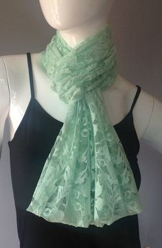 Loving the Mint Green floral lace Infinity Scarf by DeZeStar on Etsy