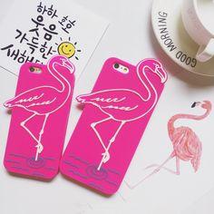 3D Silicon cartoon flamingo Pink Bird phone case for iphone 6 6s 6plus 6splus Funny love birds fundas free drop shipping