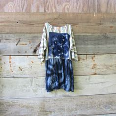 funky linen and jersey dress / upcycled dress / blue summer tunic by CreoleSha, $77.00