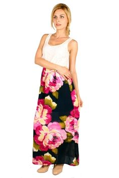 Floral rose print racer back maxi dress with partial lining