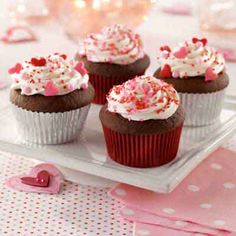 A creamy filling hides inside the chocolate cupcake for a delicious surprise.