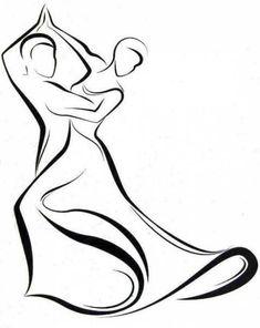 Idéia de tatuagem de casal. Casal dançando em estilo minimalista.