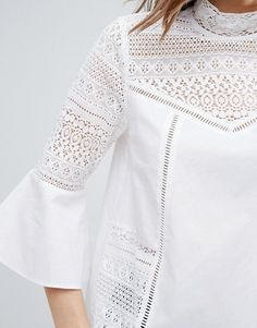 asos cotton victoriana blouse with lace inserts