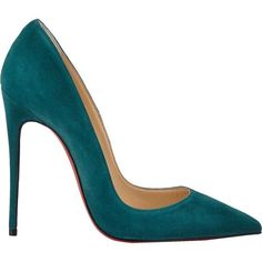Christian Louboutin So Kate Pumps ($675) ❤ liked on Polyvore featuring shoes, pumps, heels, christian louboutin, sapatos, green, suede pointy toe pumps, red sole pumps, green heel shoes and suede shoes