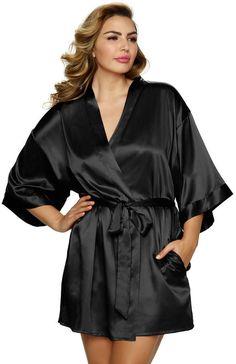 Jezebel Plus Size Gem Satin Kimono Robe 911066582
