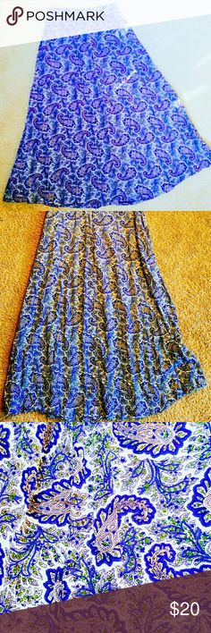 Hype Blue  Skirt Size medium.  100% Rayon (very soft material)! Zips in back. Will include a brown braided belt. Skirts