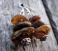 Raw Unpolished Baltic Amber Earrings Dangle Rough by DreamsFactory, $19.00