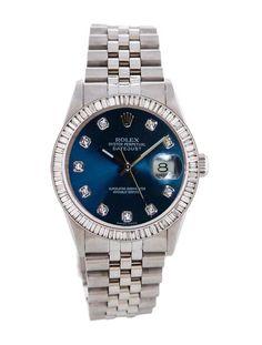 Rolex Mens Datejust Blue Diamond Dial & 3.00ct Baguette Diamond Bezel ! WOW #Rolex
