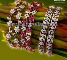 Jewellery Designs: Lovely Diamond Bangles by PNG