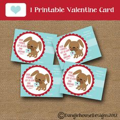 Kids Valentine Card Puppy Dog Valentine DIY PRINTABLE Christian Scripture Bible Verse Valentine for Boys Children