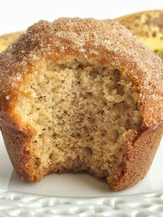 (Sub applesauce for eggs) Cinnamon banana bread muffins taste like banana bread in muffin form! They are perfectly light and moist, loaded with banana flavor, and bake up beautifully each time. Topped in butter and a sweet cinnamon crumble. Cinnamon Banana Bread, Cinnamon Crumble, Moist Banana Bread, Banana Bread Muffins, Gluten Free Banana Bread, Thermomix Banana Muffins, No Butter Banana Bread, Banana Bread No Eggs, Applesauce Muffins