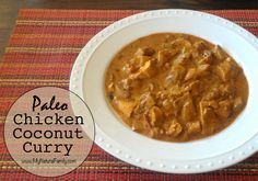 Simple Paleo Chicken Curry Recipe - Whip it up quickly on your stovetop for a fast weeknight meal with tons of flavor, veggies and no carbs!  MyNaturalFamily.com #curry #paleo #recipe