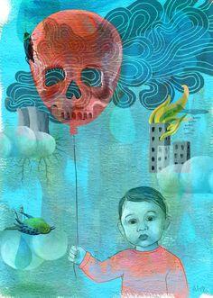 Alice Wellinger - The earth – borrowed from our children - Kitsch, Dark Stories, Gcse Art, Pop Surrealism, Skull And Bones, Art Club, Skull Art, Big Eyes, Graphic Illustration