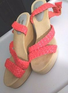 Halston Heritage Leather Sandal Size 10 Wedge Ankle Strap Neon Pink