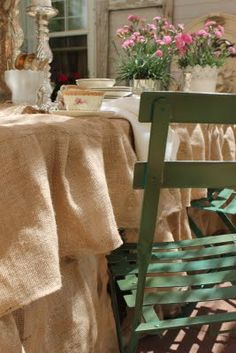 Burlap ruffled table cloth