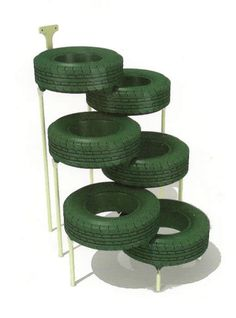 CAT CLIMBER made out of repurposed tires and add some fabric to make hammocks inside the tires