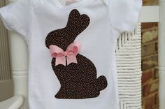 Chocolate Bunny Easter Shirt -- pink and brown polka dots -- bodysuit or shirt on Etsy, $21.00