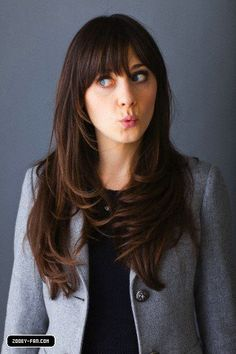 Zooey Deschanel Hair - Love this but not sure I can pull off a fringe! but want one sooo bad