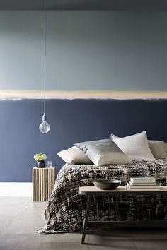 Top wall: Backdrop Bottom wall: Amaranth Stripe: Winter Truffle All from the Him & Her capsule collection from Moda Bedroom Colors, Bedroom Decor, Blue Bedroom, Half Painted Walls, Room Interior, Interior Design, Blue Rooms, Inspiration Wall, Colorful Interiors