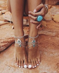 Boho Turquoise Beads Silver Chain Link Anklet – The Trendi Shop